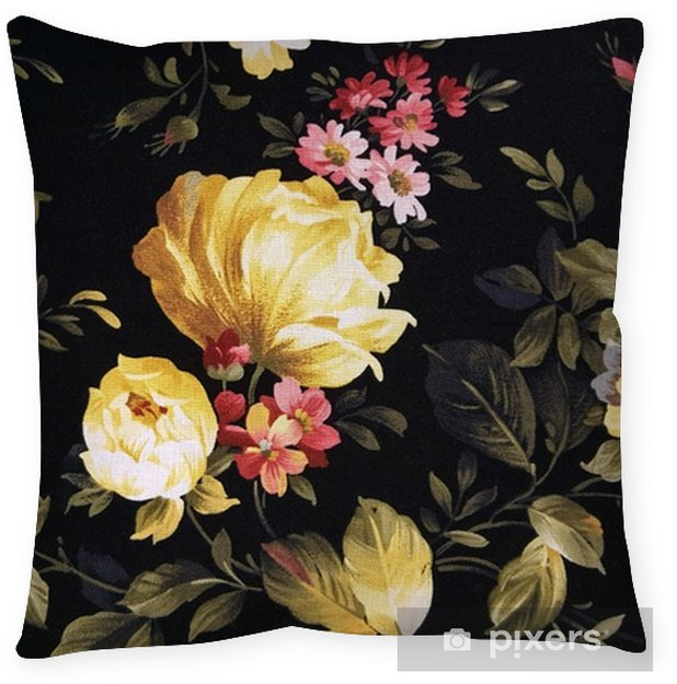 yellow peony and pink daisy design on black fabric Floor Pillow - Graphic Resources