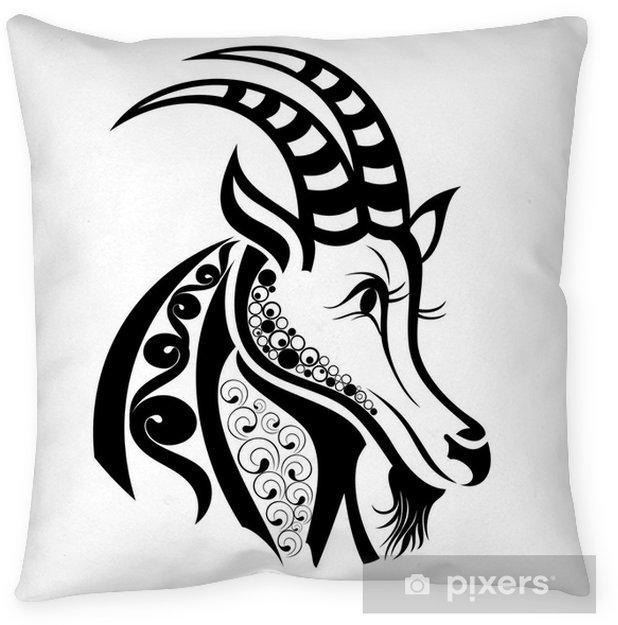 Zodiac Signs Capricorn Tattoo Design Floor Pillow