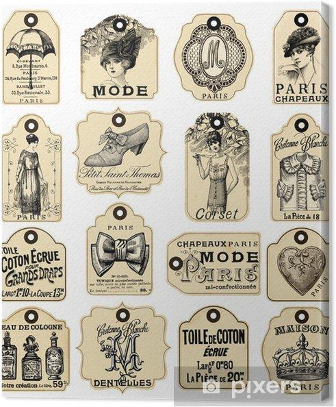 16 franske Retro labels Fotolærred - Skønhed