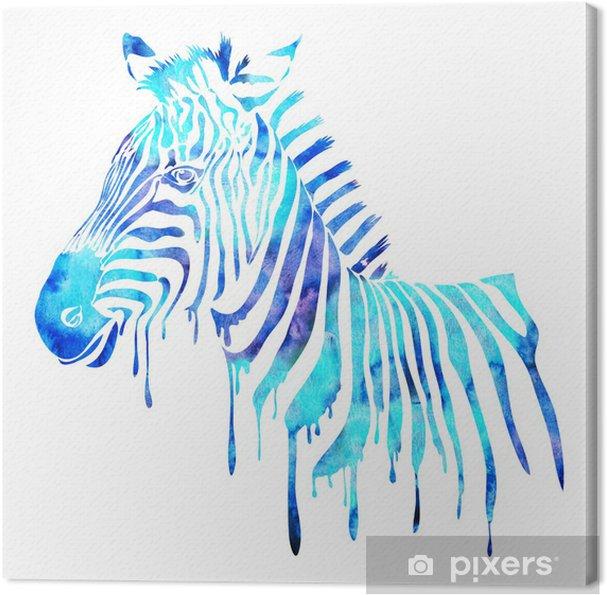 Akvarel sebrahoved - abstrakt dyr illustration, hvid Fotolærred - Vægklistermærke