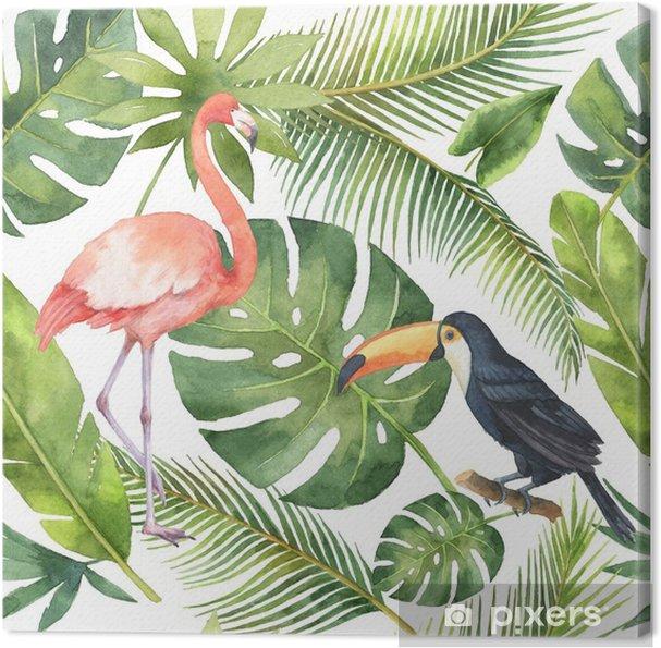 Akvarel sømløs mønster af kokosnød og palmer isoleret på hvid baggrund. Fotolærred - Planter og Blomster