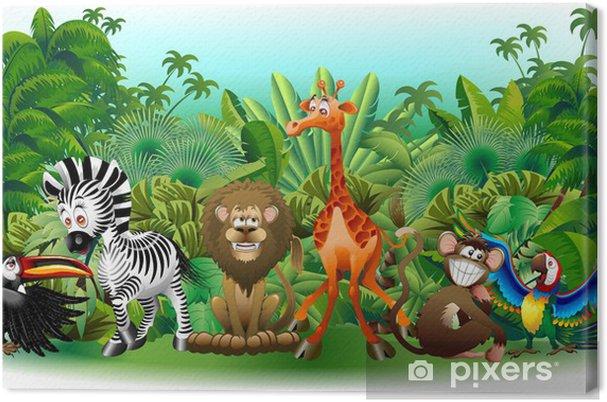 Animali Selvaggi Cartoon Giungla-Wild Animals Baggrund-Vector Fotolærred -