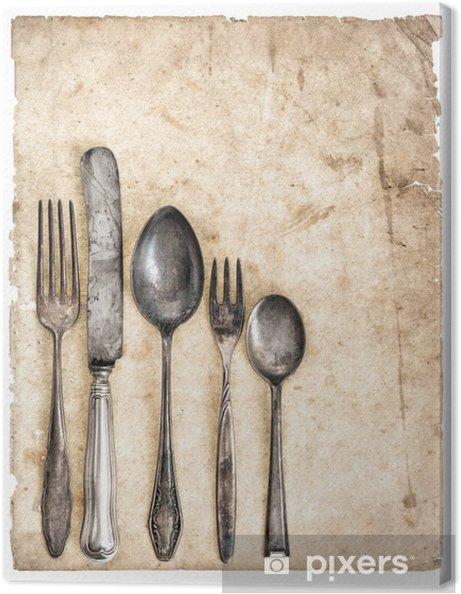 Antik bestik og gammel kok bog side Fotolærred -