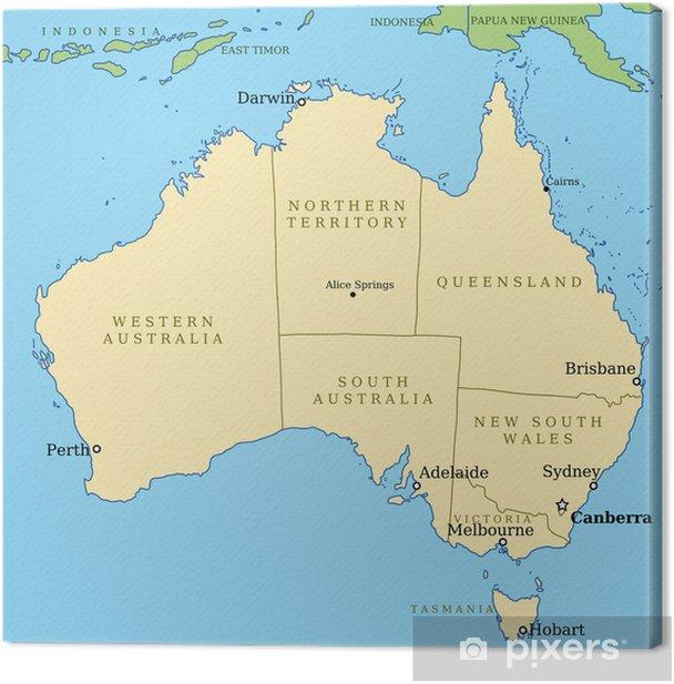 Australien Kort Med Stater Vektor Illustration Fotolaerred