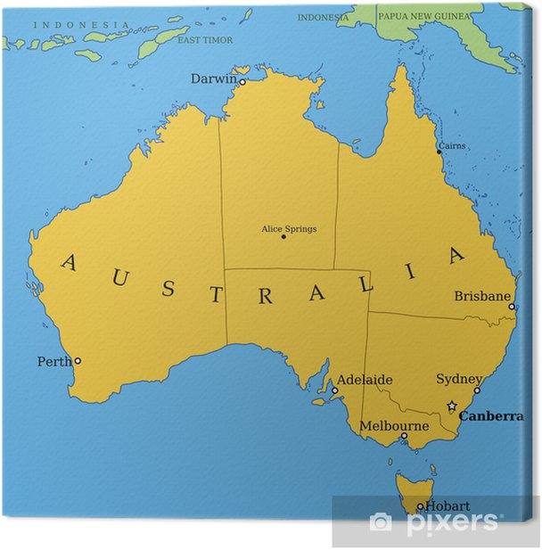 Australien Kort Med Storre Byer Og Provinser Fotolaerred Pixers