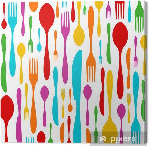Bestik farverige mønster på hvidt Fotolærred -