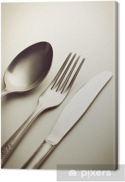 Bestik. Gaffel, kniv og ske. Fotolærred -