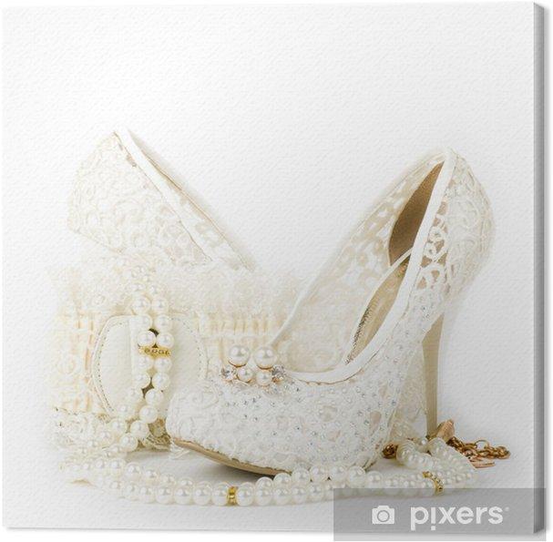 bb1dc3f6 De smukke brude sko, blonder og perler Fotolærred • Pixers® - Vi ...
