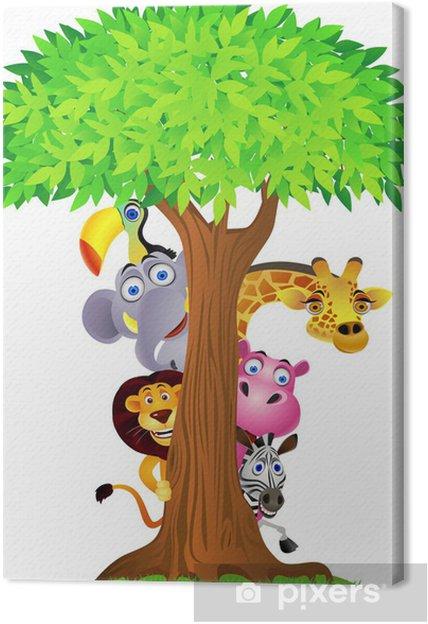 Dyr gemmer sig bag træet Fotolærred - Vægklistermærke