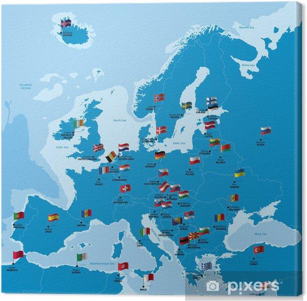 Europa kort med lande, storbyer og flag Fotolærred -