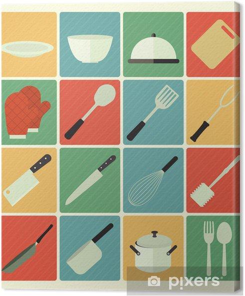 Flad ikoner køkken sæt Fotolærred -