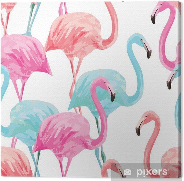 Flamingo akvarel mønster Fotolærred -