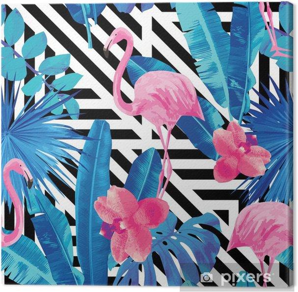 Flamingo og orkideer mønster, geometrisk baggrund Fotolærred - Dyr