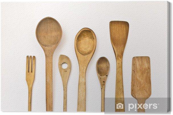Forskellige køkken træ redskaber på en hvid baggrund Fotolærred -