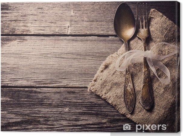 Gamle gaffel og ske på træ baggrund Fotolærred -
