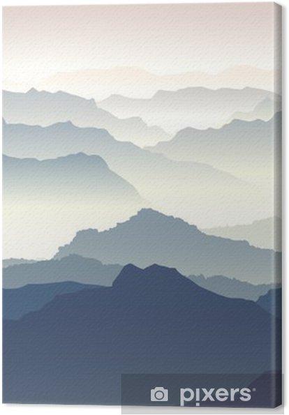 Horisontal illustration af tusmørke i bjerge. Fotolærred -