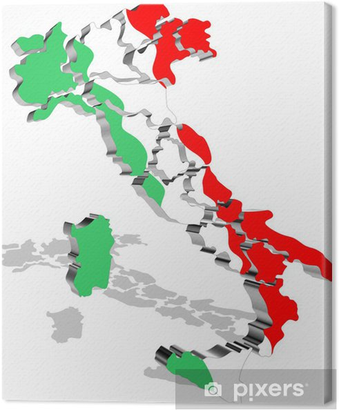 Italia Mappa Tricolore 3d Italien Kort Flag Vector Fotolaerred
