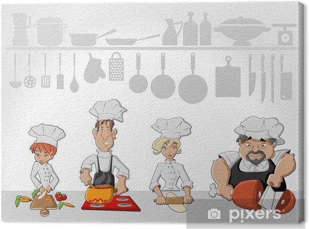 Kokken lag koger lækkert måltid i restaurant køkken Fotolærred -