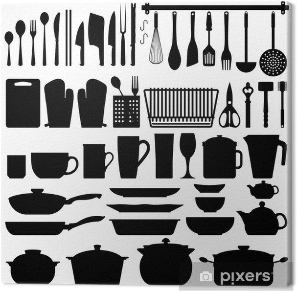 Køkkenredskaber Silhuet Vector Fotolærred - Vægklistermærke