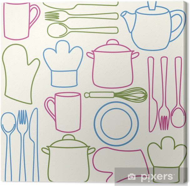 Køkkenredskaber - sømløse mønster Fotolærred -
