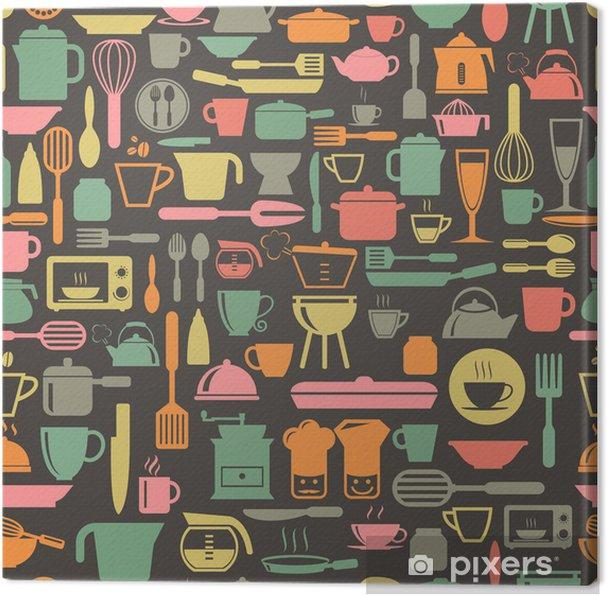 Køkkenværktøj sømløs mønster med retro farve, vektorformat Fotolærred -