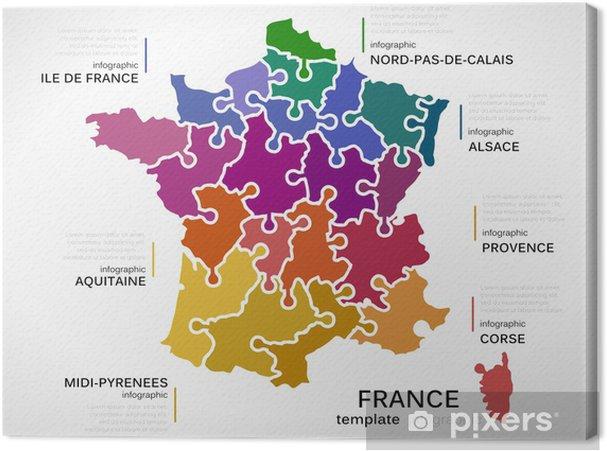 Kort Over Frankrig Fotolaerred Pixers Vi Lever For Forandringer