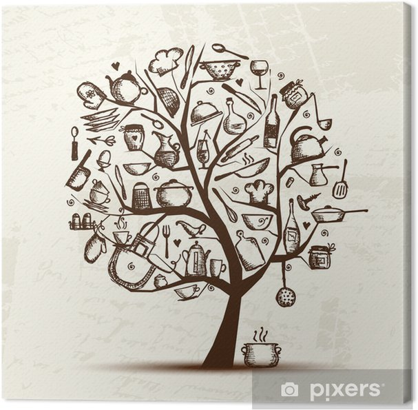 Kunst træ med køkkenredskaber, skitse tegning til dit design Fotolærred -