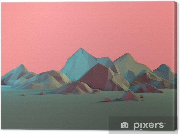 Low-Poly 3D bjerglandskab med pasteller Fotolærred - Landskaber