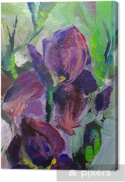 Maleri stilleben oliemaleri tekstur iris impressionisme a Fotolærred - Hobby og Underhodning