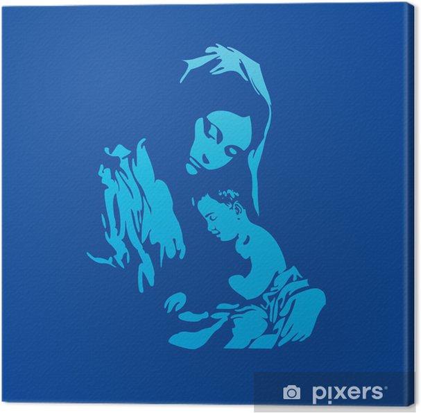 Moder Maria med Jesus Kristus i blåt Fotolærred -