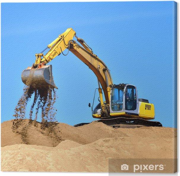 Nye gule gravemaskine arbejder på klitter Fotolærred - Tung Industri