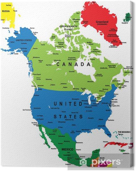 Politisk Kort Over Nordamerika Fotolaerred Pixers Vi Lever For