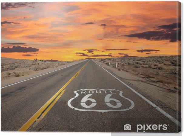 Route 66 Pavement Sign Sunrise Mojave Desert Fotolærred -