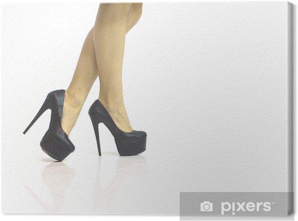 7abb2c8ff24 Sexede ben i sorte sko med høje hæle isoleret på hvidt Fotolærred ...