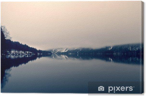 Snoet vinterlandskab på søen i sort og hvidt. Monokrom billede filtreret i retro, vintage stil med blødt fokus og rødt filter; nostalgisk vinterbegreb. Lake Bohinj, Slovenien. Fotolærred - Landskaber