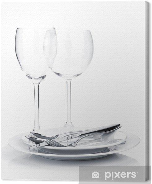 Sølvtøj eller bestik på tallerkener og vinglas Fotolærred -