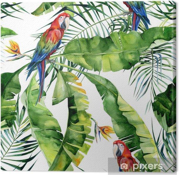 Sømløs akvarel illustration af tropiske blade, tæt jungle. scarlet macaw papegøje. strelitzia reginae blomst. håndmalet. mønster med tropisk sommertids motiv. kokosnødpalme blade. Fotolærred - Grafiske Ressourcer