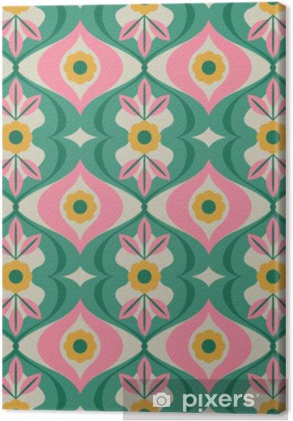 Sømløs retro mønster med blomster og blade Fotolærred - Grafiske Ressourcer