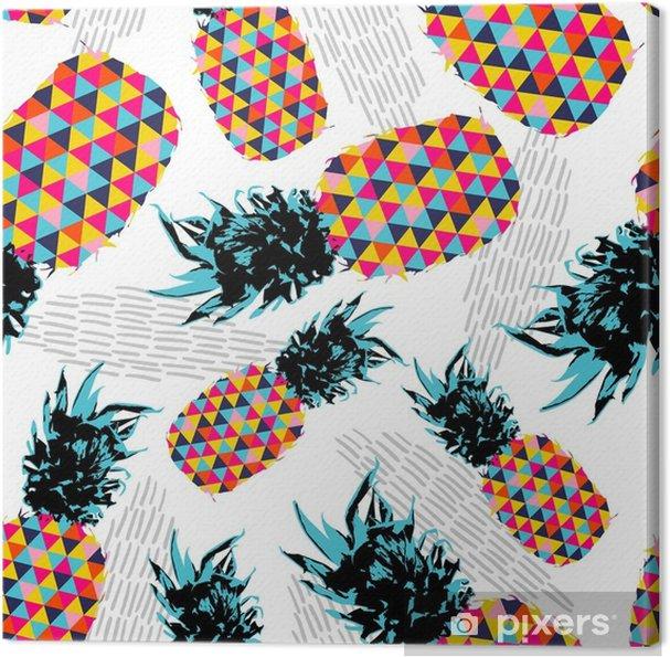 f70a4328d7e Sommer sømløs mønster med farve retro ananas Fotolærred • Pixers ...