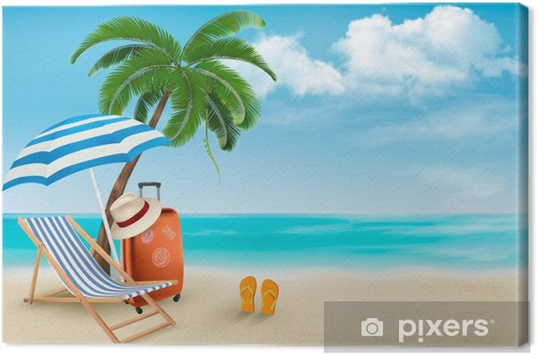 Frisk frugt Strand med palmer og strand stol. Sommerferie koncept b Fotolærred EN78