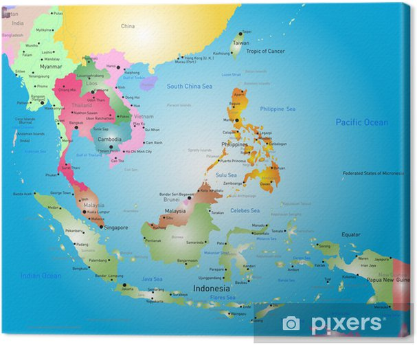 Sydostasien Kort Fotolaerred Pixers Vi Lever For Forandringer