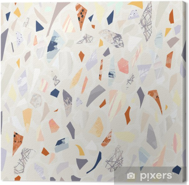 Terrazzo sømløse mønster. levende farver. teksturerede former. konfetti. håndtegnet design. Fotolærred - Grafiske Ressourcer