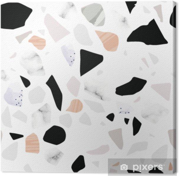 Terrazzo sømløse mønster. teksturerede former. pastellfarver. marmor. Fotolærred - Hobby og Underhodning