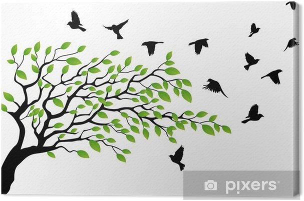 Træ med fugleflyvning Fotolærred -