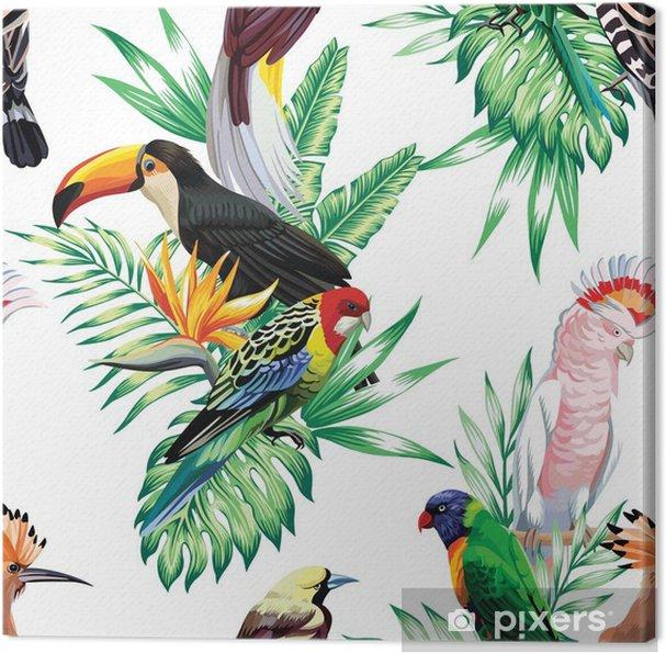 Tropiske fugle og palme blade mønster Fotolærred -