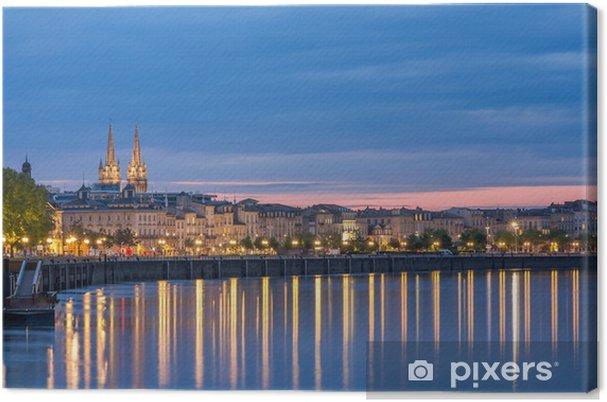 Udsigt på Bordeaux om aftenen - Frankrig Fotolærred -