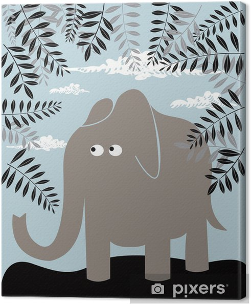 Vektor baggrund med elefant og løv Fotolærred -