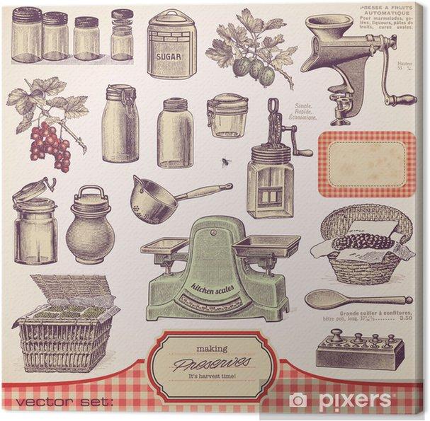 Vektor sæt: konserves og hjemmelavet mad Fotolærred -