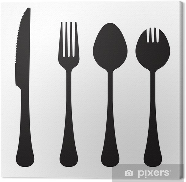 Vektor silhuet af kniv, gaffel, ske og spork Fotolærred - Vægklistermærke