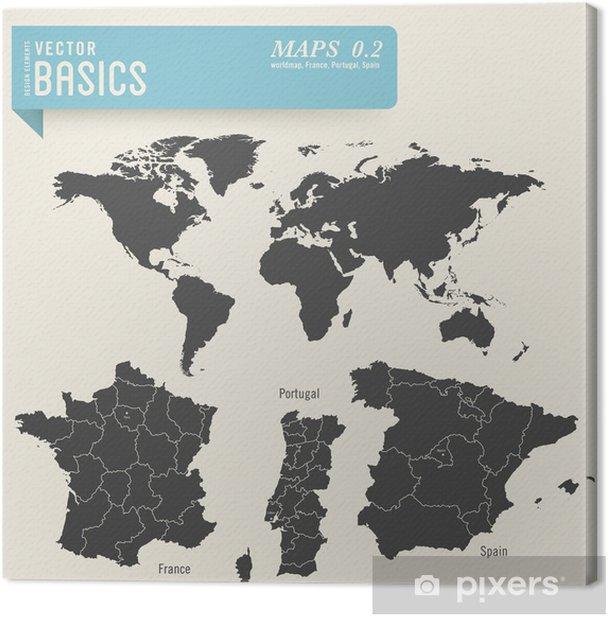 Verdenskort Og Detaljerede Kort Over Frankrig Portugal Og Spanien